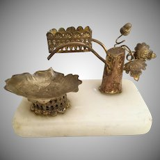 Palais Royal Perfume Holder and Trinket Dish ~  Alabaster Plinth with a Stunning Gilt Ormolu Tree