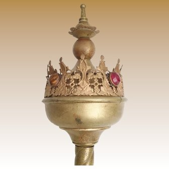"""BIG  22"""" Jeweled Painted Brass Theatrical  Specter """" JEWELED CROWN"""" ~  Large Red, Green, Amber Gems"""