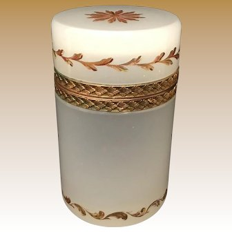 Antique French White Opaline Hinged Box Casket~ Fancy Mounts and Stunning Gilding