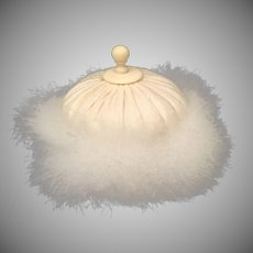 "Delightful Antique French  4"" Swan's down  Powder Puff  ~ Silk Top and Beautiful Celluloid Finial ~"