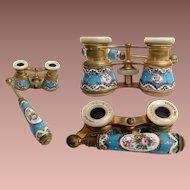 Antique  French La Reine Paris Guilloche Enamel on Brass Opera Glasses w Lorgnette Telescopic  Handle~ Good Optics~ AS IS!