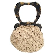 Gun Marie Nilsson New York City Tortoise and Crochet Silk Purse ~ Exquisite Faux Plastic Tortoise Handles Frame w Locking Clasp and Bottom