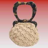 Gun Marie Nilsson New York City Tortoise and Crochet Silk Purse ~ Exquisite Faux Plastic Tortoise Handles Frame w Locking Clasp and Bottom