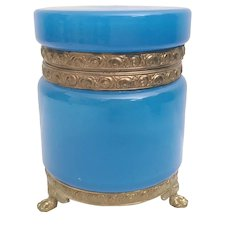Beautiful Electric Blue Opaline Hinged Box ~ Amazing Gilt Mounts and Paw Footed Base
