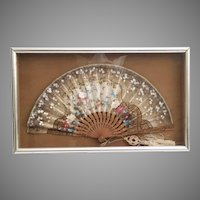 Very Fine Antique Hand painted Silk Fan   Silver Gilt Frame ~ A Masterpiece with Flowers and Birds ~ Elegant Simple Silver Gilt Frame