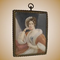 Antique French Miniature Painting in a Wonderful Brass Frame