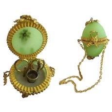 RARE Antique French Green Opaline Hinged Box Etui ~Five Tiny Gilt Pieces ~ Gilt Ormolu