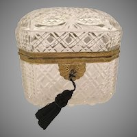 Antique French Dome Top Cut Crystal Casket Hinged Box ~  Ornate Gilt Mounts ~ Display a Group of Well Cut Glorious Crystal Boxes and Put A  Sparkle in YOUR ROOM!