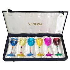 Estate Vintage Venezia Box with 6 Colorful Glasses ~  OLD and SO Charming  ~ A Wonderful Set of Six in Glorious Colors ~  Never been Used