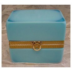 "Antique French Majestic Blue Opaline Casket "" Exquisite Bow Wreath Clasp"""