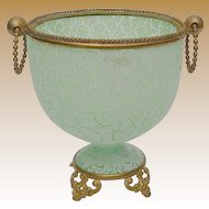 Antique Green Crackle Opaline Cachepot