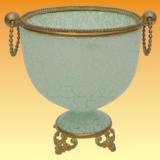 Antique Green Crackle Opaline Cachepot