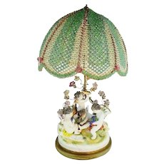 """23"""" Porcelain Putti Lamp w The Grandest Beaded Shade ~"""