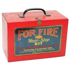 "SHUR-STOP F I R E  Extinguishing Kit ~ A Big Red Metal Box wi Six  3 ½""  Glass Throw-Balls"