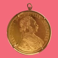 "Austrian Gold 4 Ducat in 10KARAT Yellow Gold Bezel ~ 1 ½"" Austrian 986 4 Gold Ducat with the figure of Franz Joseph"