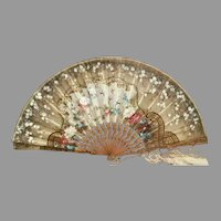 Antique Hand painted Silk Fan in Silver Gilt Frame ~  Masterpiece with Flowers and Birds