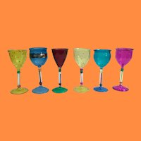Estate Venezia  6 Colorful Glasses  ~ OLD and SO Charming ~ Glorious Colors and Never been Used