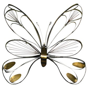C. Jere Large Metal Butterfly Wall Sculpture