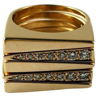 Vintage Mod Design 14K Yellow Gold and Diamond Stacking Ring Set