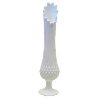 Fenton Hobnail Swung Milk Glass Vase