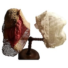 Two Very Pretty Vintage Small Size or Doll Size Bonnets