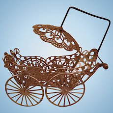 Pretty German Soft Metal Miniature Doll Carriage With Pram