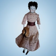 Nice Antique China Head Doll Brown Boots Early Polka Dot Dress
