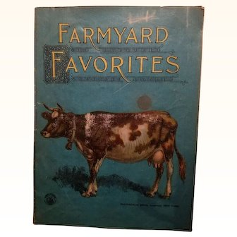 Nice Old Cloth Linen Children's Doll Book Farmyard Favorites