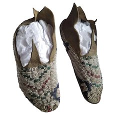 Antique Native American Indian Jicarilla Children's Doll Beaded Moccasins
