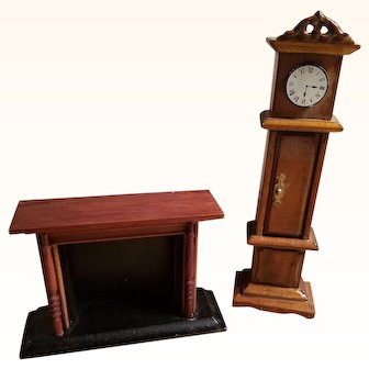Cute Little Vintage Dollhouse Doll Fireplace & Grandfather Clock