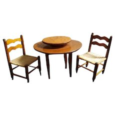 Miniature Dollhouse Doll Table & Two Chairs