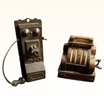 Vintage Miniature Dollhouse Doll  Metal Wall Telephone & Cash Register