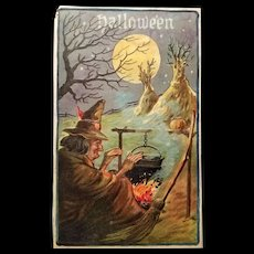 Antique Spooky Witch Halloween Post Card
