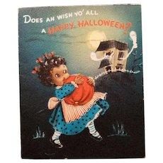 Black Americana Vintage Halloween Greeting Card Hallmark