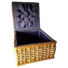 Vintage Sewing Basket Blue Silk Interior Great Doll Display! - Red Tag Sale Item