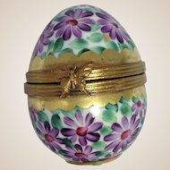 Limoges Porcelain Trinket Box-Spring Flowers Egg