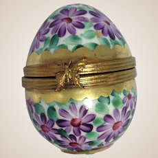 Limoges Porcelain Trinket Box-Spring Flowers Egg