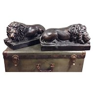 Bronze Lion Sculptures-Antonio Canova style, early 19th Century, LARGE