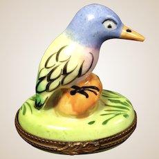 Limoges Porcelain Trinket Box-Bird perched on rock-RETIRED