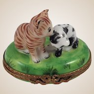 Limoges Porcelain Trinket Box-Kittens in Grass