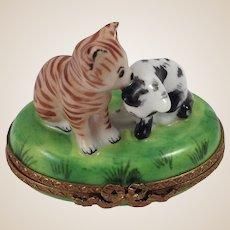 Limoges Porcelain Trinket Box-Kittens in Grass