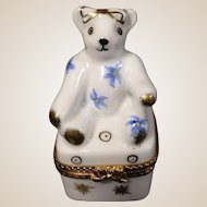 Limoges Hand Painted Trinket Teddy Bear Box