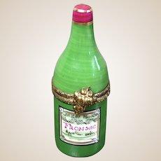 Limoges Porcelain Trinket Box-Wine Bottle