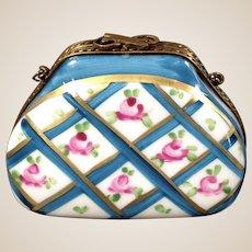 Limoges Porcelain Trinket Box-Purse with bow clasp