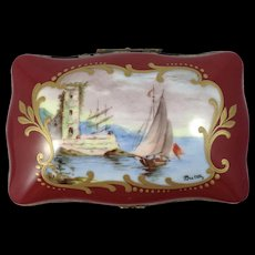 Sevres/Limoges-Very rare, c.18th Century Porcelain Hand Painted Box
