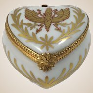 Collectible Limoges Porcelain Trinket Box-Heart with 24kt Gold