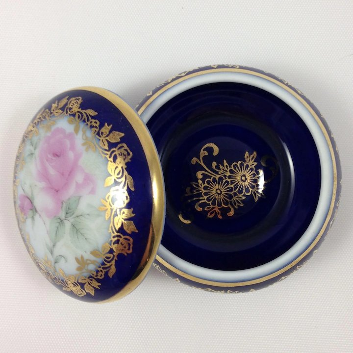 Collectible Limoges Porcelain Trinket Box-Round Blue Box : The Art ...