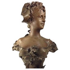 Elegant Art Nouveau Cast Bust Signed By Anton R. Nelson, France (1880-1910)