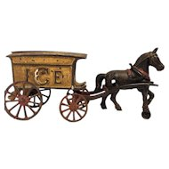 Antique Hubley Cast Iron ICE horse drawn wagon