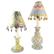 RETIRED--MacKenzie-Childs Hand Painted Majolica Candlesticks with Parchment Shades
